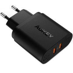 Сетевая зарядка Aukey Qualcomm Quick Charge 3.0 PA-T16 для Samsung, LG, iPhone, Xiaomi, Asus, Sony (Черный цвет)