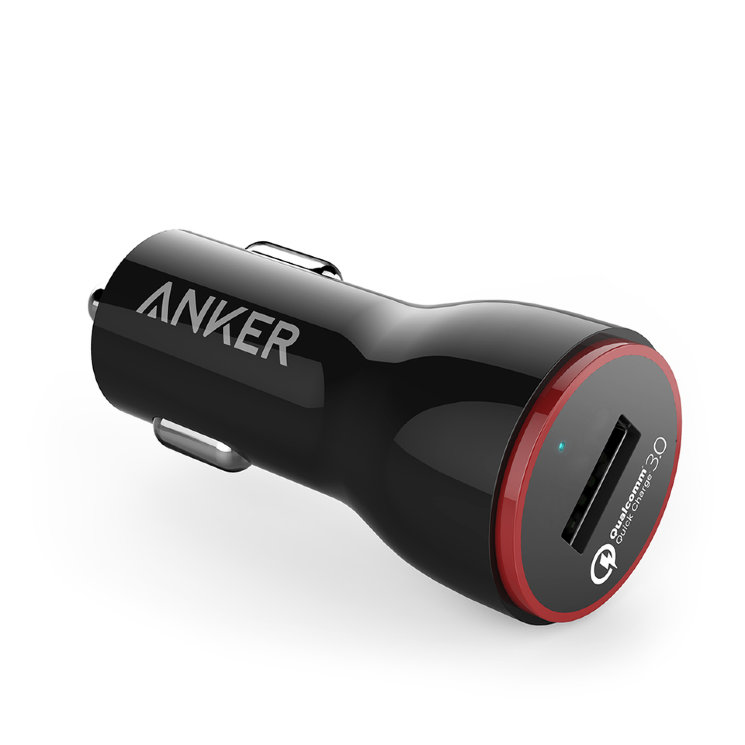 Автомобильная зарядка Anker PowerDrive+ 1 Quick Charge 3.0 24 Вт USB для Galaxy S7 / S6 / Edge / Plus, Note 5 / 4 and PowerIQ for iPhone X/ 8/7 / 6s / Plus, iPad Pro / Air 2 / mini, LG, Nexus, HTC, A2210012 (Черный цвет)