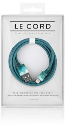 Кабель Le Cord Aquarells Aqua, MFI, для iPhone XS Max,XR,X,8,8+,6/6 Plus/6S/7/7 Plus/5, iPad mini/Air/Pro, iPod Nano/Touch (морская волна
